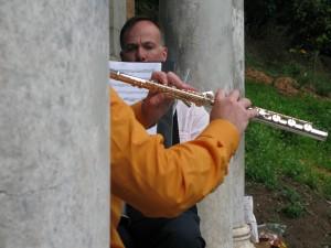 Doug Over Flute, Zaptet Woodwind Quintet Performing at Portal of the Past, Golden Gate Park, San Francisco
