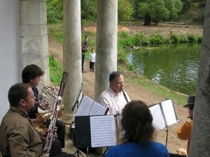 Small Audience With Most of Zaptet Woodwind Quintet Performing at Portal of the Past, Golden Gate Park, San Francisco