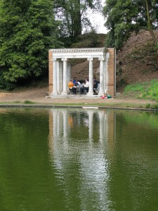 Zaptet Woodwind Quintet Viewed Across Pond at Portal of the Past, Golden Gate Park, San Francisco