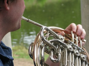 Jeff on French Horn, Zaptet Woodwind Quintet Performing at Portal of the Past, Golden Gate Park, San Francisco