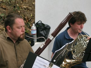 Tom on Bassoon and Jeff on French Horn, Zaptet Woodwind Quintet Performing at Portal of the Past, Golden Gate Park, San Francisco