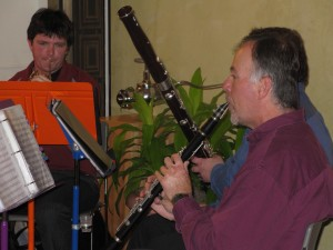 Jeff on French Horn, Tom on Bassoon, and Doug on Clarinet Performing in Zaptet Woodwind Quintet at Stonestown Galleria in San Francisco