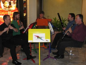 Zaptet Woodwind Quintet Signage for Performance at Stonestown Galleria in San Francisco