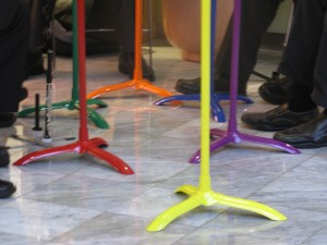 Rainbow Music Stands for Zaptet Woodwind Quintet Performance at Stonestown Galleria in San Francisco
