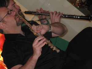 Eric on Flute and Stardust on Oboe in Zaptet Woodwind Quintet Performing at Stonestown Galleria in San Francisco