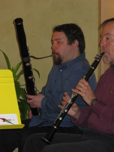 Tom on Bassoon and Doug on Clarinet in Zaptet Woodwind Quintet Performing at Stonestown Galleria in San Francisco