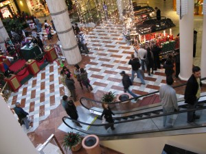 Zaptet Woodwind Quintet Performing in Extreme Upper Right at Stonestown Galleria in San Francisco